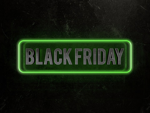 Black friday metallic text surrounded by a green neon border