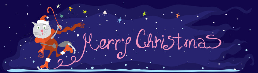 magical merry Christmas/ vector long border with cat in red tracksuit on skates on the background of stars