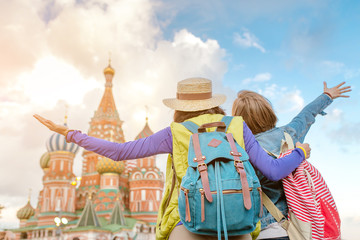 Two young women travel in Moscow, Russia