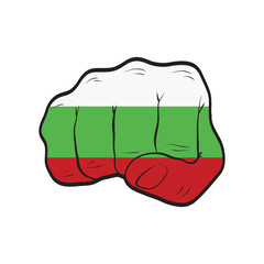 Bulgaria flag on a clenched fist. Strength, Power, Protest concept