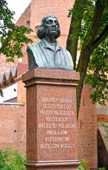 OLSZTYN, POLAND. Nicolaus Copernicus's bust. The Polish text - to Nicolaus Copernicus from grateful residents of Olsztyn.