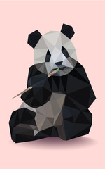 Colorful polygonal style design of wild black and white panda on a pink background