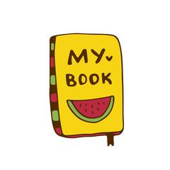 Book icon illustration. Hand drawn print. Sticker design.