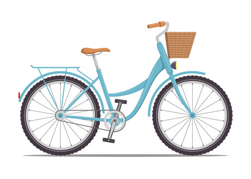Cute women s bike with a low frame and basket in front. Vintage bicycle. Vector illustration in flat style.
