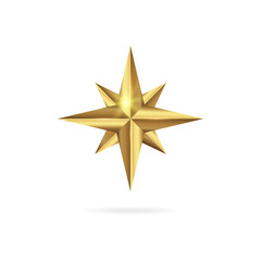 Realistic golden 3D star icon isolated on white background.