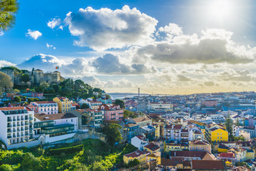 Wall Mural - View of Lisbon at sunny day, Portugal