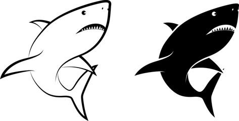 isolated shark - clip art illustration and line art