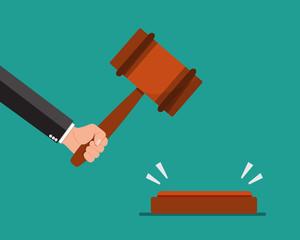 Hand holding judges gavel . Vector illustration.