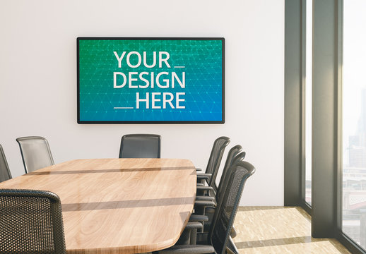 Screen in Conference Room Mockup