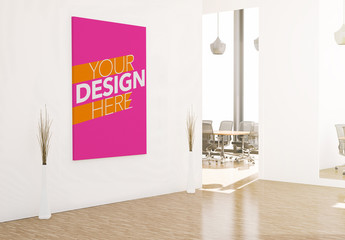 Canvas on Office Wall Mockup