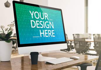 Monitor on Desk Mockup