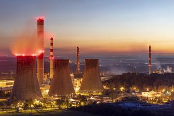 Coal power plant at twilight.
