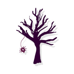 Halloween Tree silhouette. Hand drawn decoration.