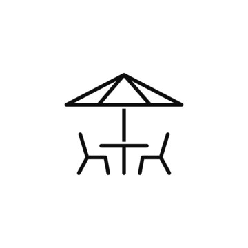 vector illustration of table and chairs under sun umbrella, icon