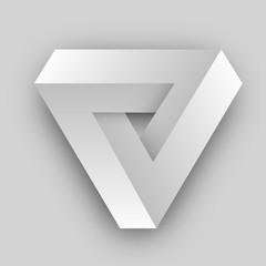 White penrose triangle. Geometric 3D object optical illusion. Vector illustration.