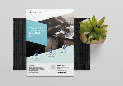 Flyer Layout with Blue Accents