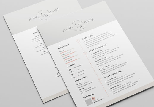 Resume Layout Set with Gray Header and Footer