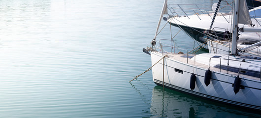 Modern, elegant and luxury sail boat; lifestyle and travel concepts
