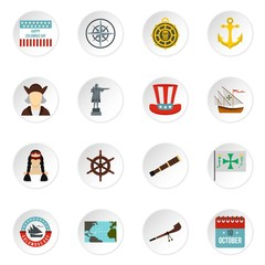 Columbus Day icons set in flat style. Sailing equipment vector icons set illustration