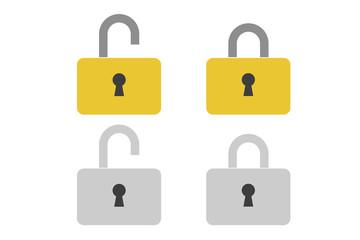 南京錠のシンプルアイコン。サイバーセキュリティ、GDPR、個人情報流出、プライバシー保護イメージUIデザイン素材