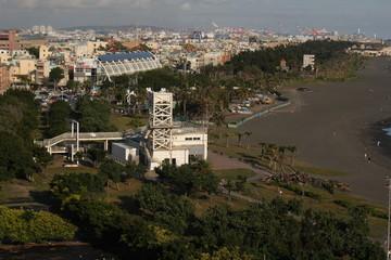 view over seaside beach coast of Cijin Qijin Island, Kaohsiung city, Taiwan