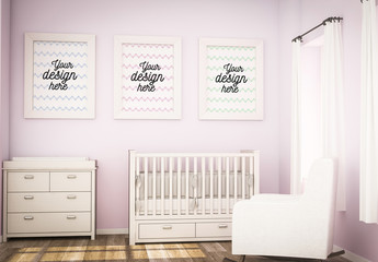 Three Frames in Pink Room Mockup