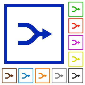 Merge arrows flat framed icons