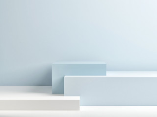 Podium in abstract blue composition, 3d render, 3d illustration Papier Peint
