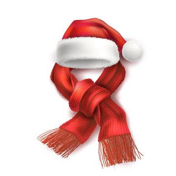Vector realistic santa christmas holiday 3d hat