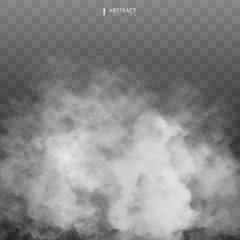 Fog or smoke isolated transparent special effect. Happy Halloween. Halloween composition. White vector cloudiness, mist or smog background. Vector illustration