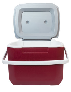 Front view of red and white plastic food and drink cooler with open lid. Isolated.