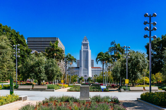 Los Angeles City Hall viewed from Grand Park in downtown Los Angeles, California, USA