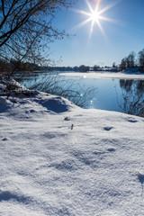 Donau im Winter bei Straubing / Niederbayern