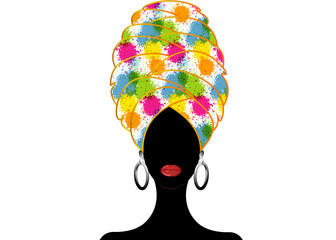 Portrait of the young black woman in a turban. Animation African beauty. Vector floral illustration isolated on a white. Traditional Kente head wrap Afro. Print, poster, t-shirt, card. Splashing style