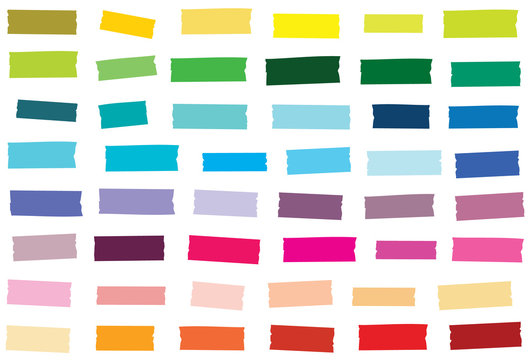 Mini washi tape strips in 48 solid colors. Semi-transparent masking tape or adhesive strips. EPS file has global colors for easy color changes.