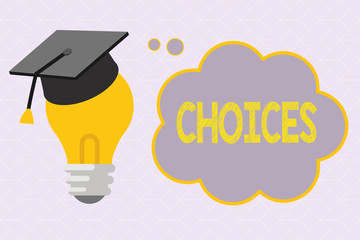 Text sign showing Choices. Conceptual photo Options Choosing between two or more possibilities Decisions.