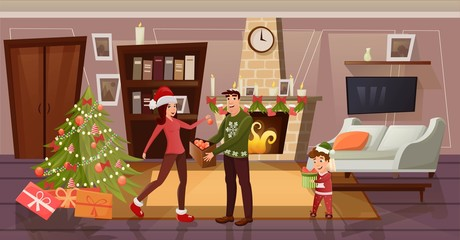 A happy family dresses up a Christmas tree but a new year and Christmas. Father and mother hang balls, and son unpacks gift. For postcards, posters, banners, design illustration