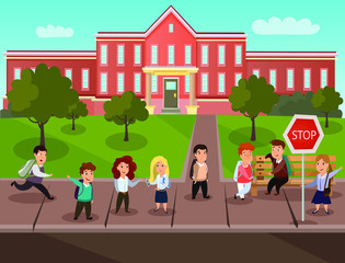 Back to school vector illustration, children at the bus stop, poster design image