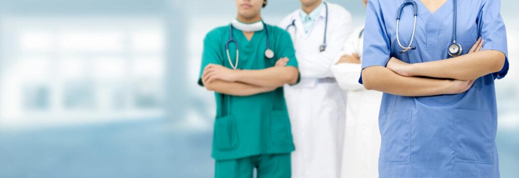 Medical team - Doctors, Surgeon and Nurse.