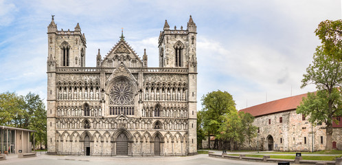 The facade of the Nidaros Cathedral, Trondheim, Norway.