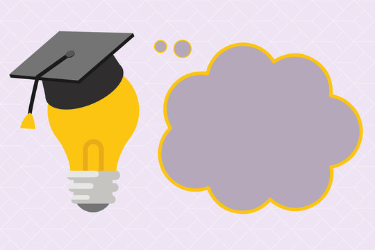 Flat design business Vector Illustration concept Empty copy space modern abstract background Geometric element. 3D Graduation Cap Thinking Resting on Bulb with Blank Cloud Thought Bubble