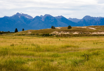Mountain landscape in National Bison Range, a wildlife refuge in Montana, USA