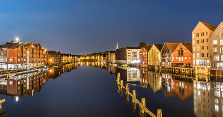 Colorful houses and  the Nidelva River, Trondheim, Norway.