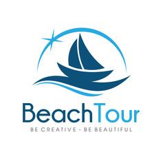 Beach Travel and sailing boat Logo Design Vector