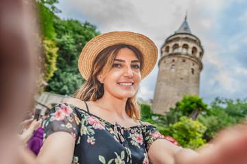 Portrait view of a beautiful woman traveler