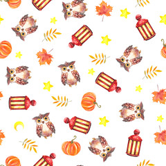 Watercolor seamless pattern of owl, flashlight, stars, moon, pumpkin and autumn leaves on white and colored background
