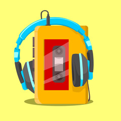 walkman portable music player with headphone flat style in yellow background retro style