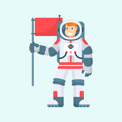 Vector cartoon smiling astronaut holds red flag in hand, isolated on blue background. Spaceman in helmet and spacesuit, male cosmonaut character, space explorer or pilot, illustration in flat style