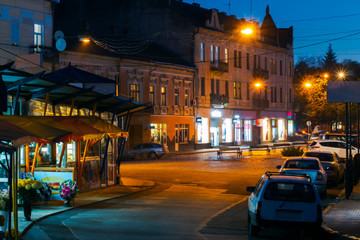 empty Petefi square in evening. beautiful cityscape of uzhgorod