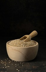 Sesame seeds in a wooden bowl with scoop on a low light background with copy space for your text
